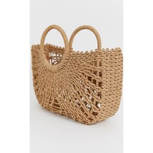 ASOS DESIGN Straw Open Weave Basket Bag